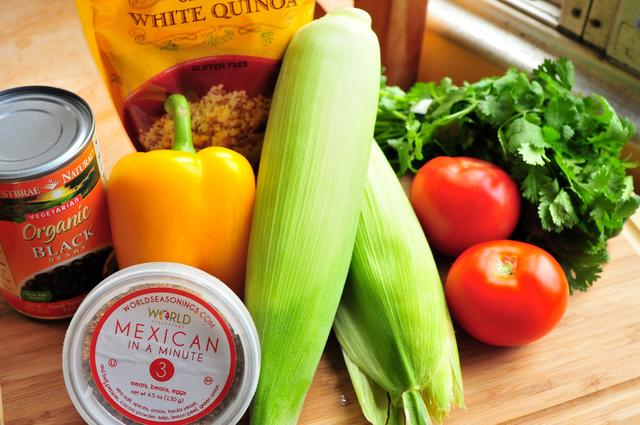 ingredients for mexican style quinoa salad