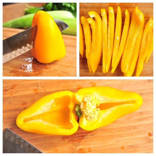 how to dice a yellow bell pepper