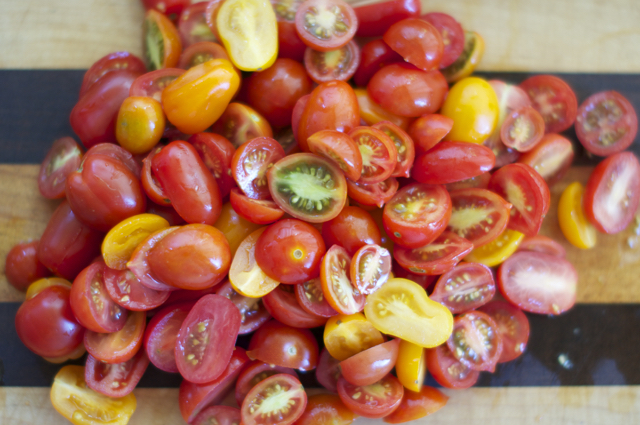 cherry tomatoes cut lengthwise