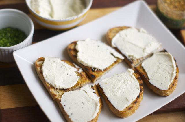 ricotta cheese spread on rustic bread