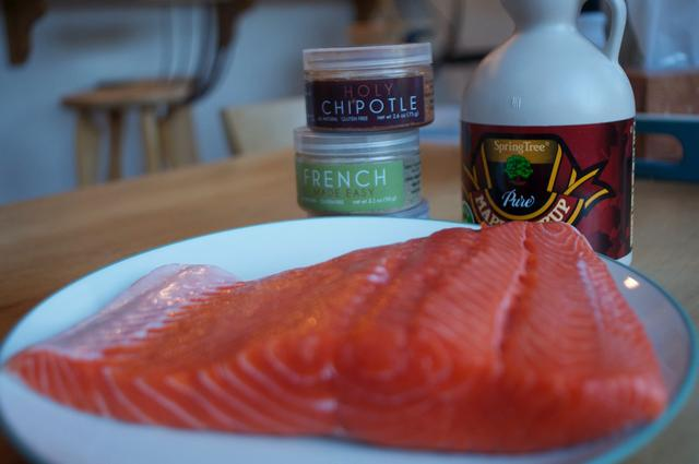 ingredients for smokin chipotle & maple salmon