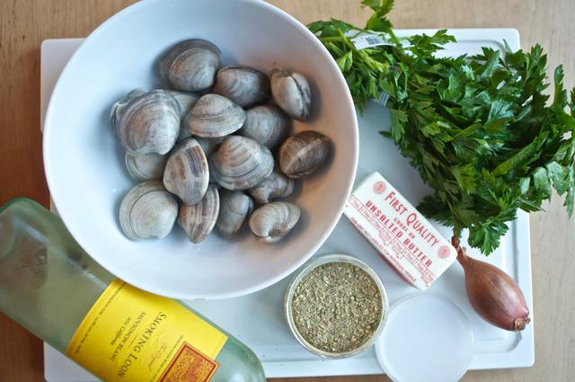 ingredients for steamed clams with french made easy & wine