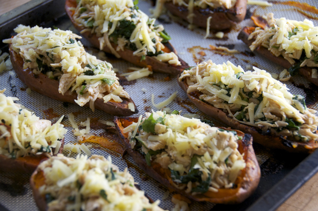 stuffed sweet potato skins with shredded chicken