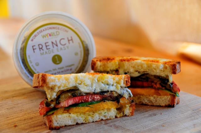 roasted zucchini and tomato gluten free sandwich in half