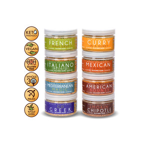 Greek Seasoning - Italian Seasonings - French Fry Seasoning - Mexican Seasoning - Chipotle Seasoning - Curry Seasoning - Mediterranean Seasoning - BBQ Dry Rub - World Seasonings - VARIETY 8 PACK