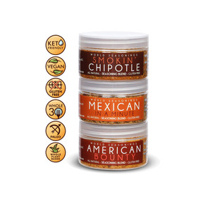 THE AMERICAS SET - Chipotle Powder - Mexican Seasoning - Steak Marinade - Spice Starter Set - Lamb Shanks - Fiesta Chicken Fajita Seasoning - Burrito Seasoning Mix - Fajita Mix - World Seasonings - THE AMERICAS SET