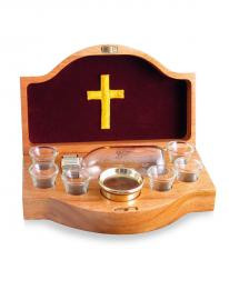 Wooden communion set with blue lining