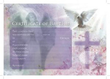 NEW Baptismal Certificates Cross & Dove Inc Envelopes- Pack 25