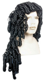 Long black wig with riglet curls
