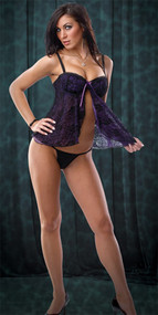 BABYDOLL W G STRING PURPLE/BLACK