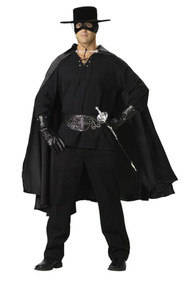 This deluxe costume includes a high-quality gauze shirt, satin cape, studded belt, studded gloves, hat, mask and fencing sword. Sword styles may vary. Pants not included.