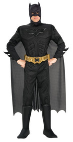 You, too, can become the fabulous Caped Crusader! Muscle chest jumpsuit with attached boot tops, headpiece, cape and belt.