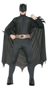 This adult deluxe BATMAN costume includes muscle chest jumpsuit with attached boot tops,cape, headpiece and foam belt.