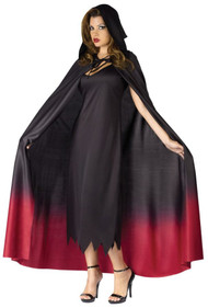 This cape will make you the queen of the vampires! Black hooded cape with blood red tie dye colored bottom and tie closure. 63 inches long. One size fits most.