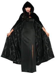This beautiful cape will make the perfect addition to your costume! Deluxe black velvet hooded cape with black satin flocked lining. One size fits most female adults.