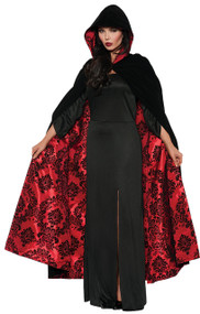 BLACK AND RED VELVET SATIN CAPE