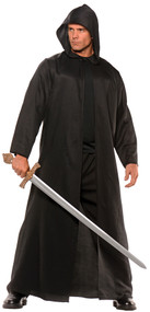 This cloak will giver your costume that extra edge! This is a full-length faux-leather cloak. Great for use with many kinds of characters and costumes.  One size fits most.