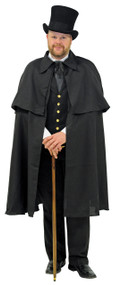 This cape will wow the dickens out of your friends! This black cape features tiered design with cloth tie fastener at the neck. One size fits most adults. The cape is approximately 44 inches long.