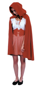 This adorable Red Riding Hood cape is a must have! 38 inch unlined red polyester cape with red hood. Cloth tie fastens at the neck.