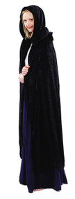 This cape will take you back to medieval times! This black renaissance cape is floor length and comes with a hood and shoulder ruffle. One size fits all.