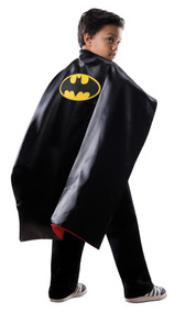 Is your child not able to decide between Batman or Superman for Halloween? Well now they don't have to! Official DC Comics costume accessory! Reversible cape double-sided satin cape has Superman colors and logo on one side, and Batman colors and logo on the other side. Logos are embroidered patches, and there is a Velcro closure. One size fits most children.