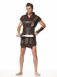 Become a warrior man with this killer robe. Brown robe, shirt, cuffs, and sword. Fits chest size up to 50 inches.