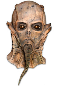 The Thanatoid is another Alien-like Scary Halloween Mask created by the amazing Motion Picture Director and Sculptor, William Malone. The Thanatoid is horrific monster that stalks the streets at night in search of human spinal fluid. When the Thanatoid attacks, this creature inserts his long proboscis into the backs of victims, sucking out their spinal fluid and other life-generating juices. What is left of the victim is only a withered and drained husk. William Malone was kind enough to offer you the opportunity to have this amazing Full Over The Head Halloween Mask, complete with snout and film like eyes. Now you can stalk the streets of your town this Halloween night in search of candy, not bodily fluids!