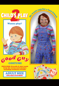 Package Photo Child's Play 2 Chucky Good Guys Adult Costume with Stripe Shirt and Printed Corduroy Overalls. Adult One Size