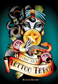 The 188-page book presents full-color, enlarged illustrations for each Eight Coins' card, along with Lana's descriptions and unique tarot insights.   Set includes: • 82 cards • 188-page full color book • Eight Coins' Tattoo Tarot Rose Spread