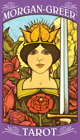 The borderless 78-card deck allows the details of tarot scenery and symbolism to be viewed from a close, intimate perspective.