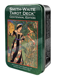 The 80-card deck includes the standard 78 tarot cards plus 2 samples of Pixie's non-tarot artwork. Cards in this pocket-sized deck measure 2.25˝ x 3.75˝.