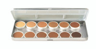12 Color Olive-Brown Refillable Metal Palette / 1.8oz./51gm.