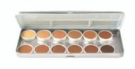 12 Color Olive-Brown Refillable Metal Palette / 1.8oz./51gm.