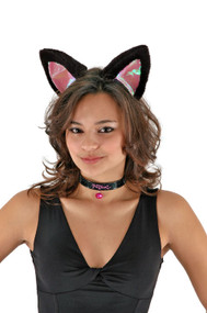 elope Cat Ears Headband Collar & Tail Kit Black & Pink