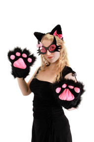 elope Deluxe Cat Plush Paws Black
