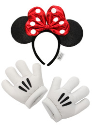Disney Consumer Products Minnie Glitter Headband & Gloves Set