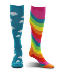 elope Mismatched Rainbow Knee-High Socks