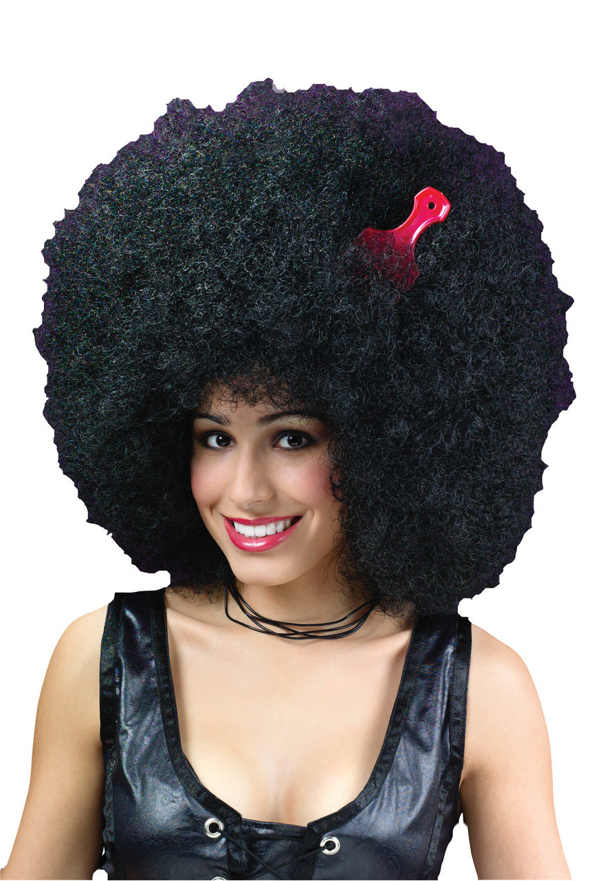 Adult Super Large Black Afro Wig