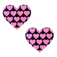 Pasties Pink Hearts on Black Heart