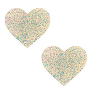 Pasties Heart White Iridescent Glitter