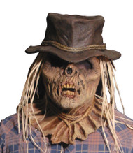 Zombie Scarecrow with Hat and Straw Hair latex mask