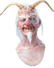 Dirty Ol Devil Halloween Mask with Horns and White Hair