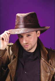 FEDORA BROWN LEATHER-LOOK