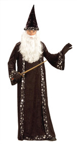 Cast spells on all your friends with this wizard robe and hat. Black satin wizards robe with moon, sun and stars detailing and matching wizard hat. Does not include beard or wand. One size fits most adults.