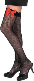 FISHNET THI HI BLK W RED BOW