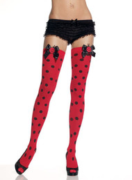 KNEE HIGHS DOTS W LADY BUG BOW