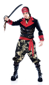 Apocalypse Pirate costume includes jacket, pants, ascot, sash and bandana.