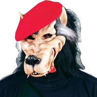 Become the ultimate party animal with this mask. Latex rubber wolf face mask with faux fur hood and attached red beret.