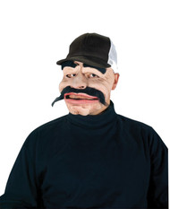 You are sure to draw attention with this mask. Latex rubber face mask with large black mustache and eyebrows. Mask has attached black and white baseball cap.