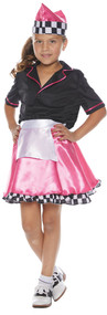 Girl's 50's Car Hop Costume. black satin button front shirt with pink trim pink satin skirt with checkered ruffle, attached white apron, and matching hat